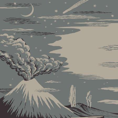 夜星空のベクトル図の背景に火山や間欠泉の噴火  イラスト・ベクター素材