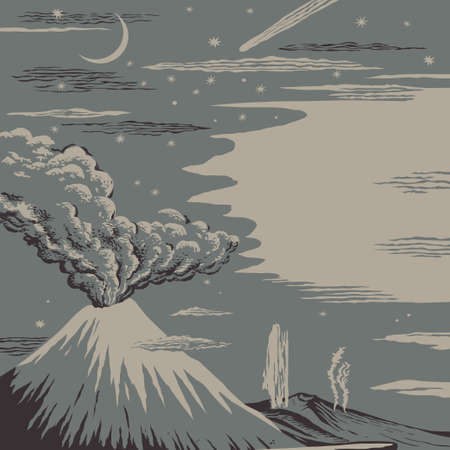 Volcano and geysers eruption on background of the night starry sky vector illustration  Ilustracja
