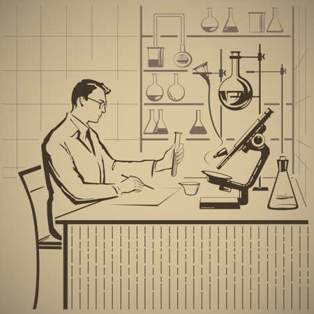 Chemist writing report about scientific research in laboratory vector illustration Ilustracja