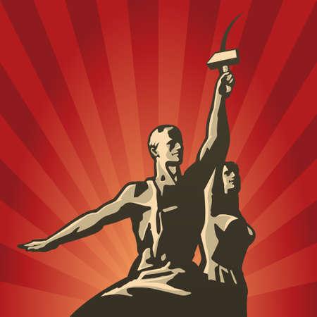 ソ連の労働者および鎌とハンマーを手に集合的な農夫のベクトル イラスト  イラスト・ベクター素材