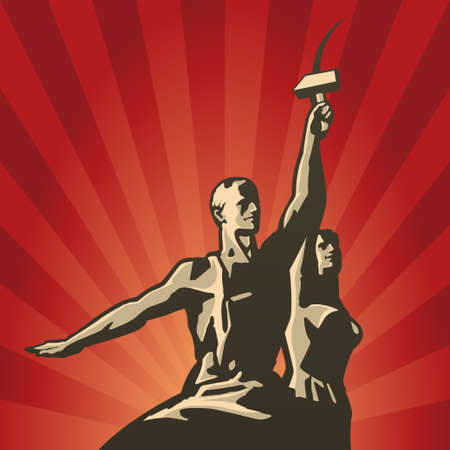 Sowjetischen Arbeiter und Tarif Bauer mit Sichel und Hammer in der Hand Vektor-Illustration Standard-Bild - 27360075