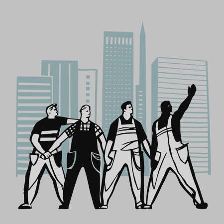 building trade: Construction workers go on strike and fight for their rights vector illustration
