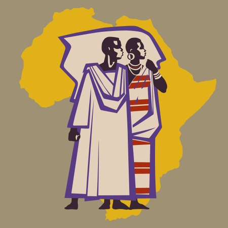 Africans in national costumes on background of African continent Vector