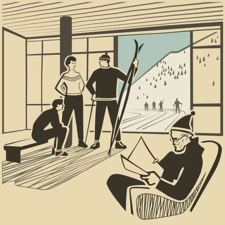 lobby: Vacationists in hotel lobby at the ski resort vector illustration