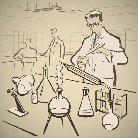 lab technician: Chemists making experiments in the laboratory vector illustration