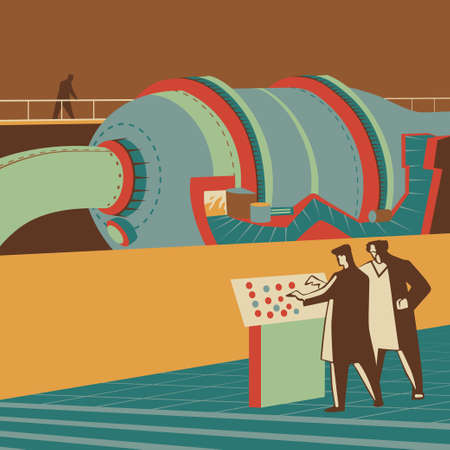 controlling: Scientists controlling a large reactor retro vector illustration