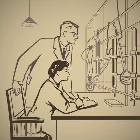 化学実験室レトロなイラストの研究の結果を待っています。  イラスト・ベクター素材