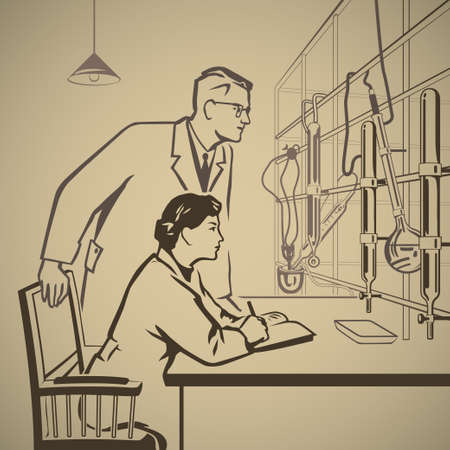 Chemists waiting for results of research in the laboratory retro illustration Ilustracja