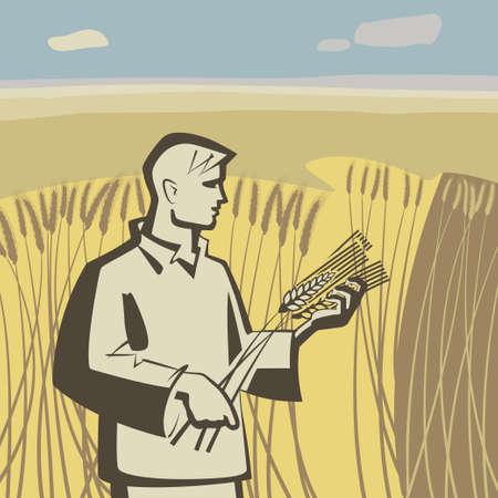 Man in hoge tarwe en houdt aartjes vectorillustratie