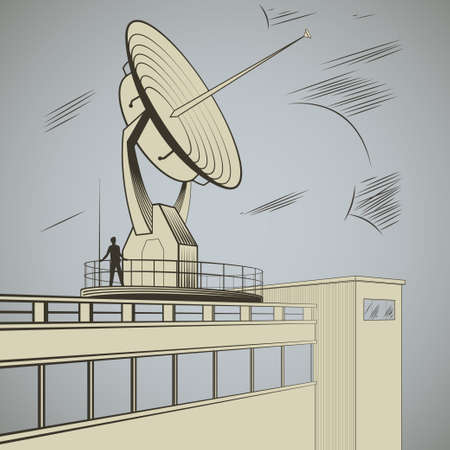 Man at the site of  large radar  peering into the distance vector illustration Vector