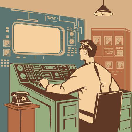 Opérateur contrôle la bonne exécution du processus rétro illustration vectorielle Vecteurs