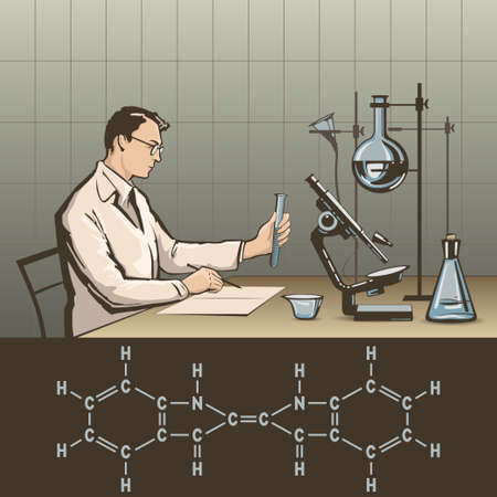 lab technician: Doctor writing report about scientific research in laboratory vector illustration