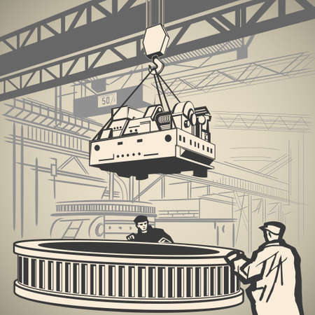 sling: Workers unloading heavy industrial equipment with crane vector illustration
