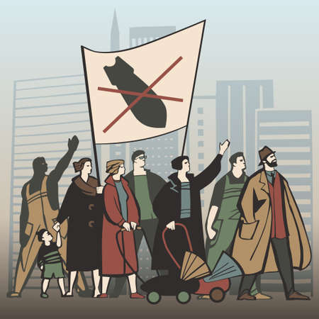 staging: People protesting against nuclear war and staging a demonstration vector illustration