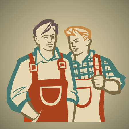 greater: Two workers discussing the ways to achieve greater productivity in manufacturing vector illustration