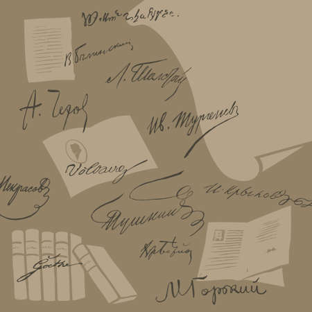 Signatures of different writers on the background of books and letters vector background Stock Vector - 27663898