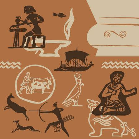 artes plasticas: Los elementos de las antiguas artes pl�sticas de los pueblos del mundo Vectores