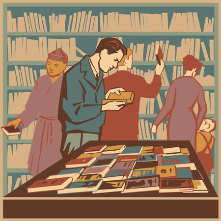 People interested in literature and new books retro illustration Ilustracja
