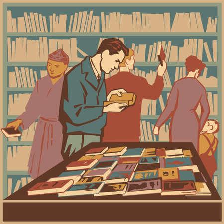 soviet: People interested in literature and new books retro illustration Illustration