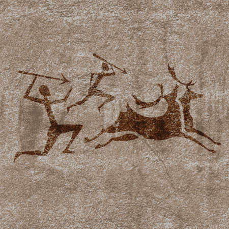 anthropology: Ancient rock paintings show  primitive people hunting on animals illustration
