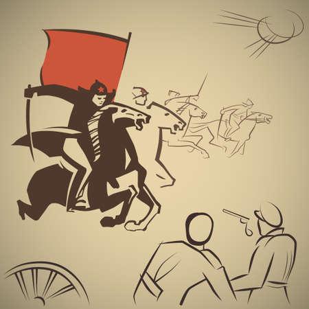 図は、敵を攻撃する赤い軍隊の騎兵隊