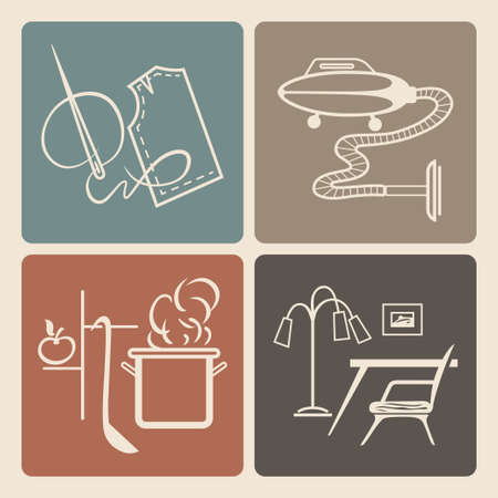 duties: Vector icons set of retro household duties, appliances and furniture