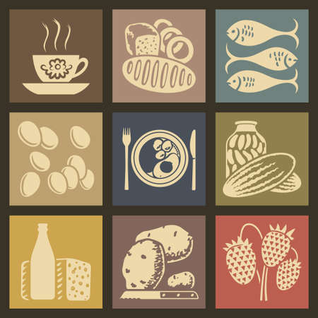 gherkin: Soviet food retro icons and buttons set