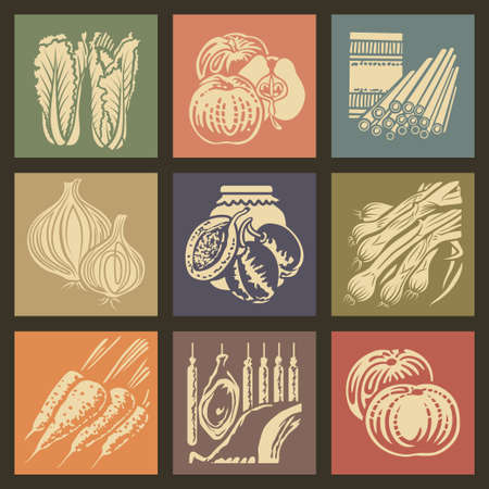 garlic bread: Soviet food retro icons and buttons set1