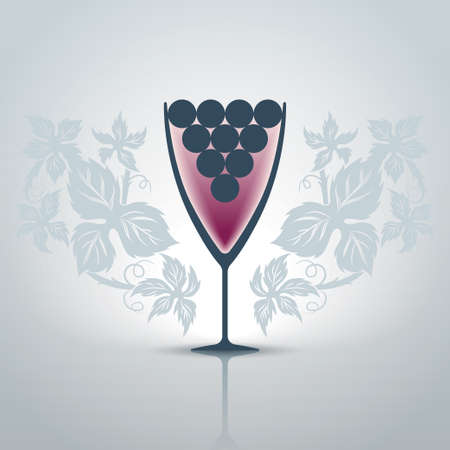 Stylized glass of wine with decorative patterns of grape leaves illustration Vector