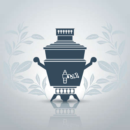 russian food: Stylized russian samovar with decorative patterns of tea leaves illustration