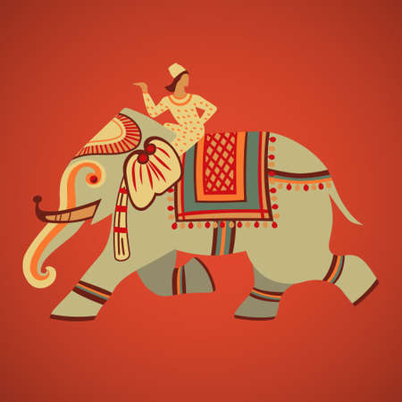 ancient elephant: Indian riding on a decorated elephant retro vector illustration