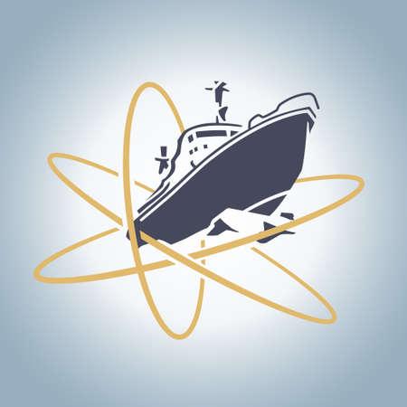 氷のレトロなベクトル図の分割様式化された原子力砕氷船
