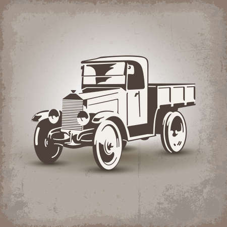 restored: Old soviet truck stylized retro vector illustration Illustration