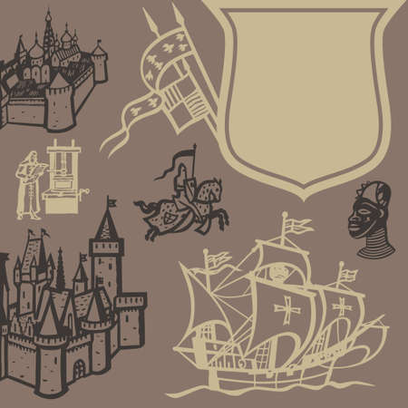 caravel: Elements of the medieval European culture vector background