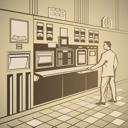 Operator standing at the control panel retro vector illustration
