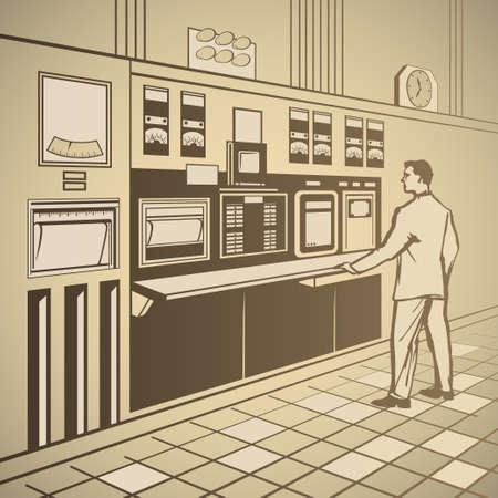 control panel: Operatore in piedi al pannello di controllo retr� illustrazione vettoriale