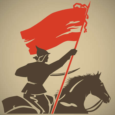 old horse: Red guard with red flag in his hand fighting for the Soviet authorities retro vector illustration