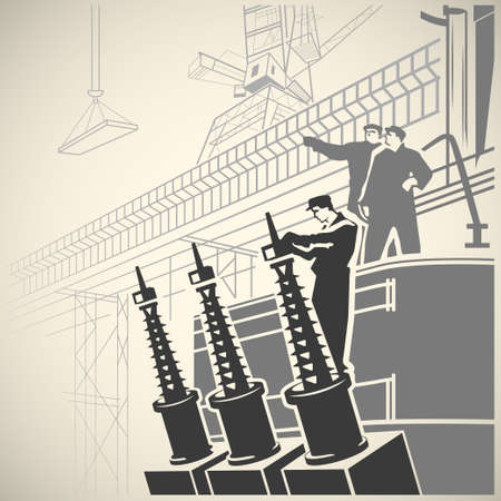 observing: Construction workers setting up equipment and observing the vast building site retro vector illustration