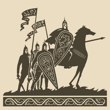 caballero medieval: Caballeros medievales en armadura completa con grandes escudos decorados y normas que agitan de pie en el campo de batalla a la espera de la ilustración vectorial batalla