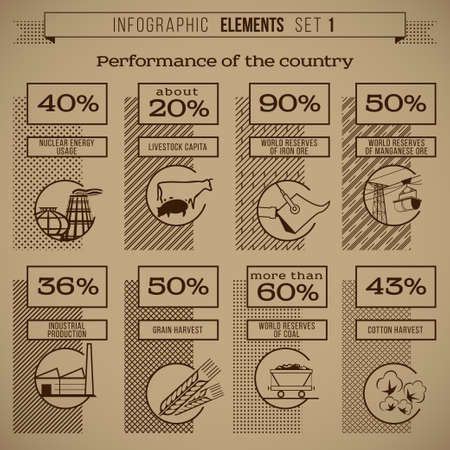 iron ore: Set of retro styled infographic templates and elements showing the performance of the country, region, area, province, department including symbols, hatch, graphics vector