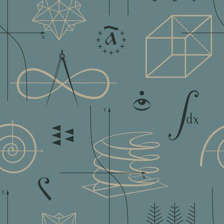 integral: Matem�ticas sin patr�n, con funciones y formas geom�tricas y diversos s�mbolos matem�ticos vectoriales