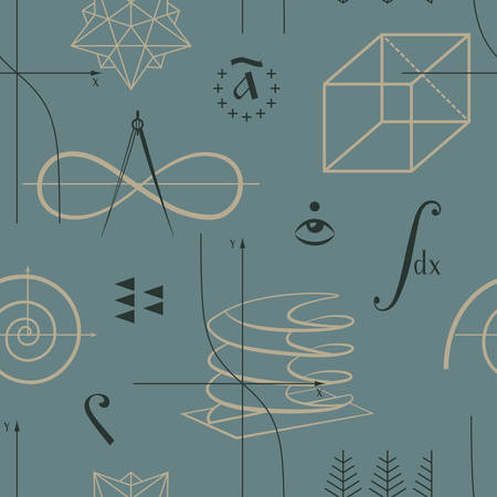 mathematical symbol: Mathematics seamless pattern with functions and geometric shapes and various mathematical symbols vector Illustration