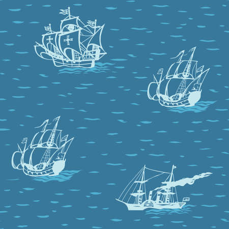 drifting: Old vintage sailing ships drifting on the ocean waves vector seamless pattern for a nautical theme