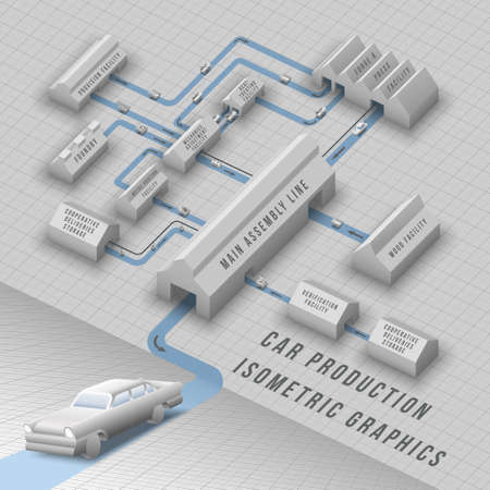 Schematic isometric graphics of automobile production line with buildings, connections and carriages with mechanics details and car parts vector illustration Vector