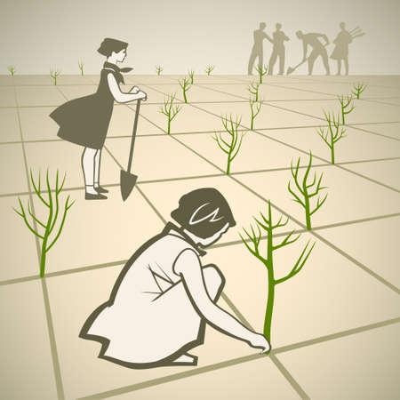 Children planting trees in spring retro vector illustration