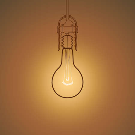 ineffective: Old Soviet bulb shining in the darkness, technical drawing style vector illustration