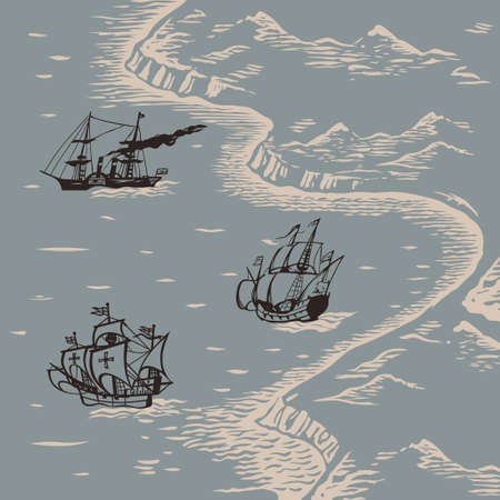 Travelers ships sailing to discover new lands engraving style hand drawn vector illustration