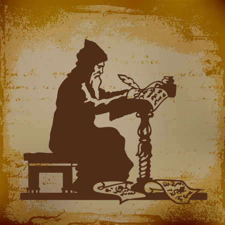 feather quill: Old monk writing a chronicle of contemporary events vector illustration