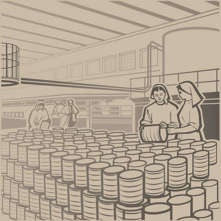 Workers carefully checking the products at the cannery retro vector illustration Vector