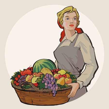 happy farmer: Young Soviet student girl holding a basket with a rich harvest of fruit and berries vector illustration